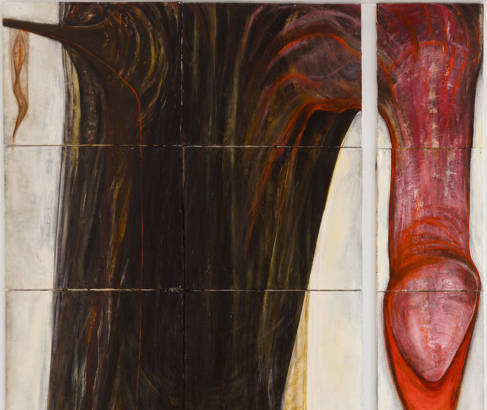 Mira Schor   Strange Fruit , 1989  Oil on 21 canvases  Detail view