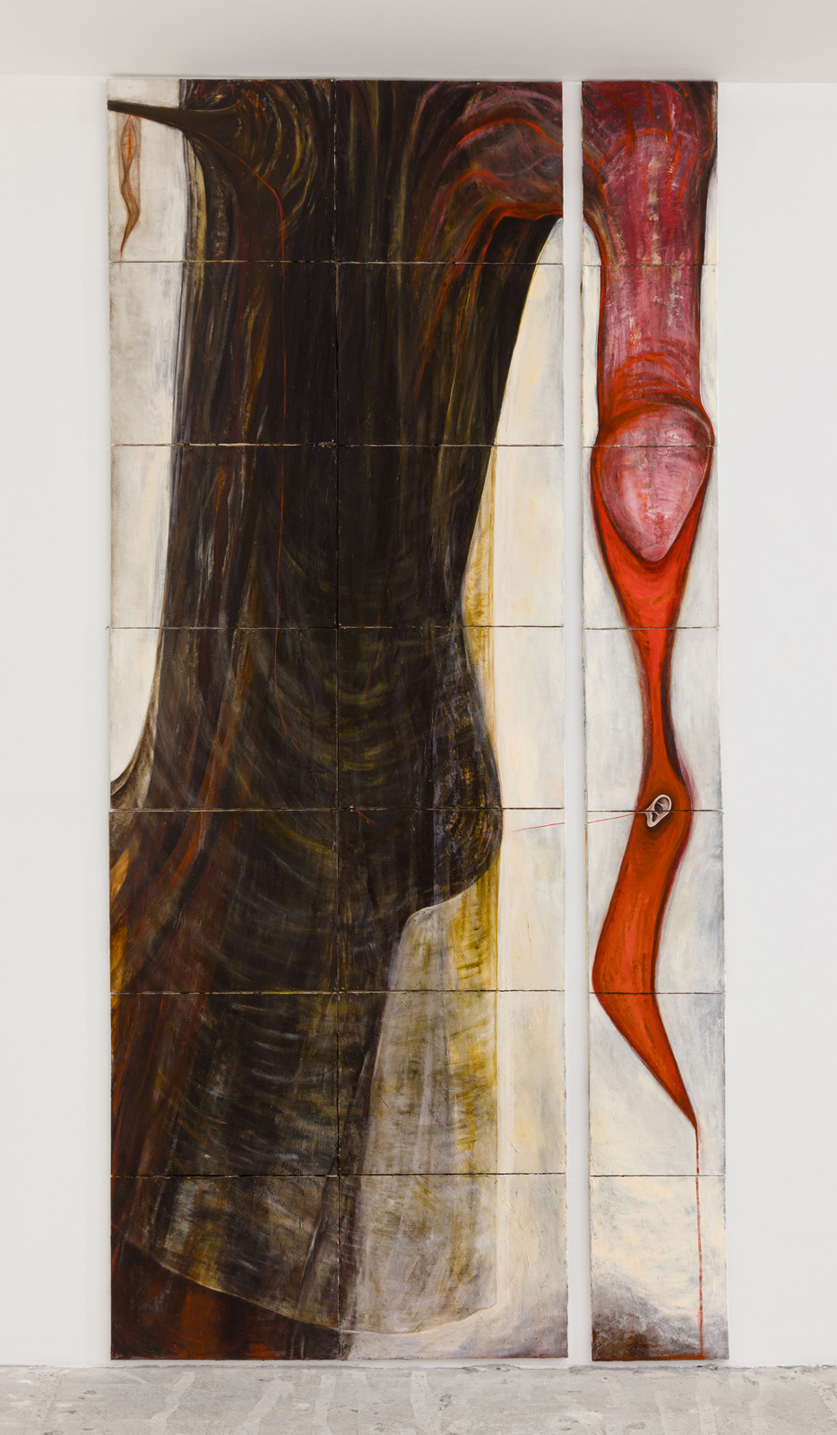 Mira Schor   Strange Fruit , 1988  Oil on 21 canvases  12 x 16 inches and 16 x 20 inches  Overall 112 x 53 inches
