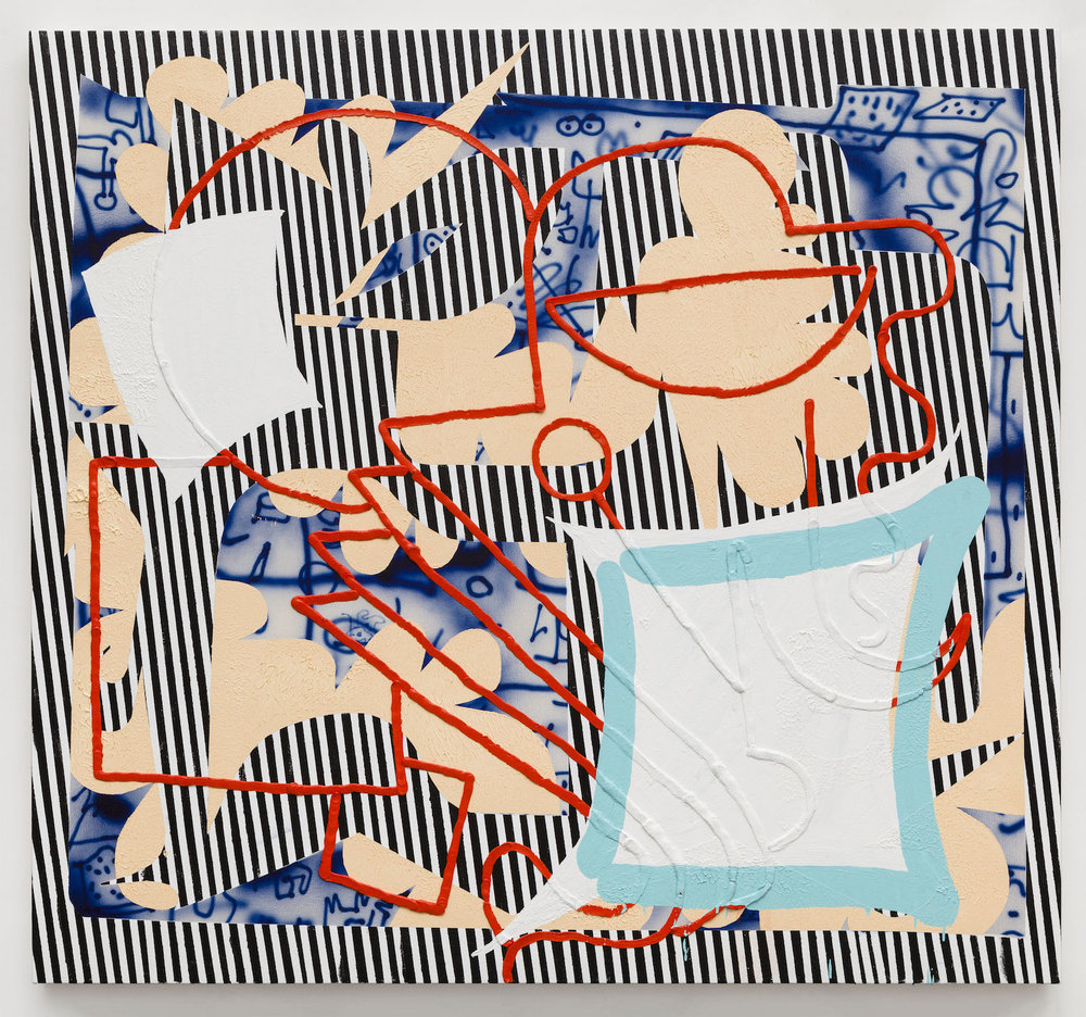 Trudy Benson   Black, White, Red , 2015  Acrylic, enamel, and oil on canvas  61 x 66 inches