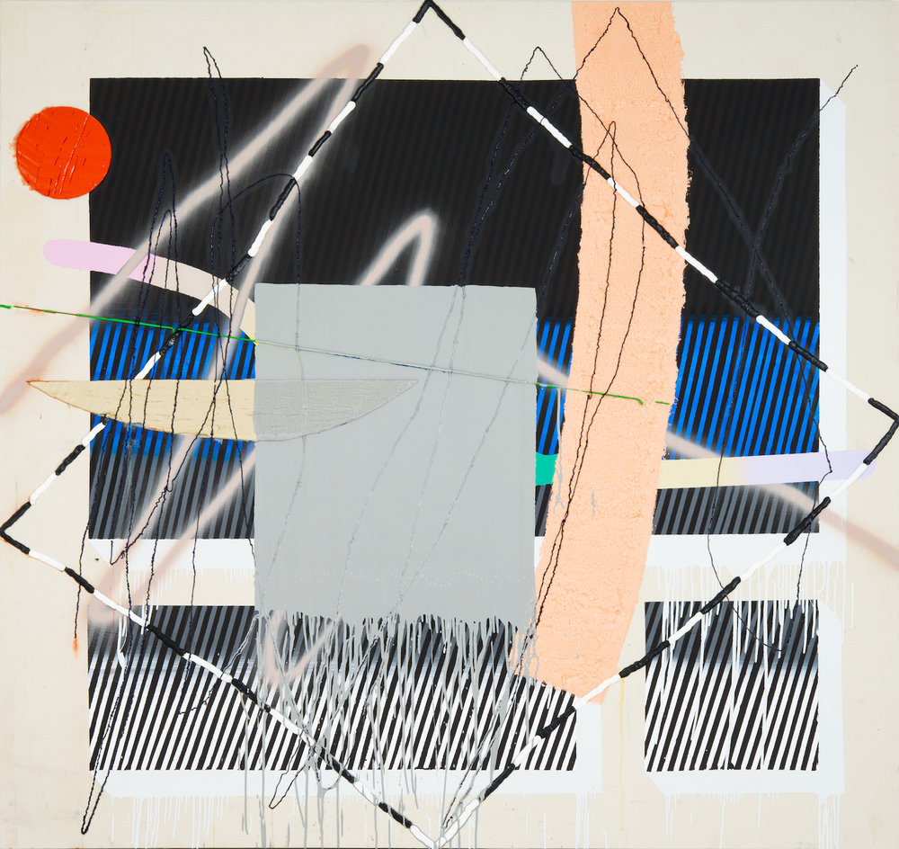 Trudy Benson   Dot, Diamond, Dash , 2012  Acrylic, enamel, and oil on canvas  77 x 80 inches