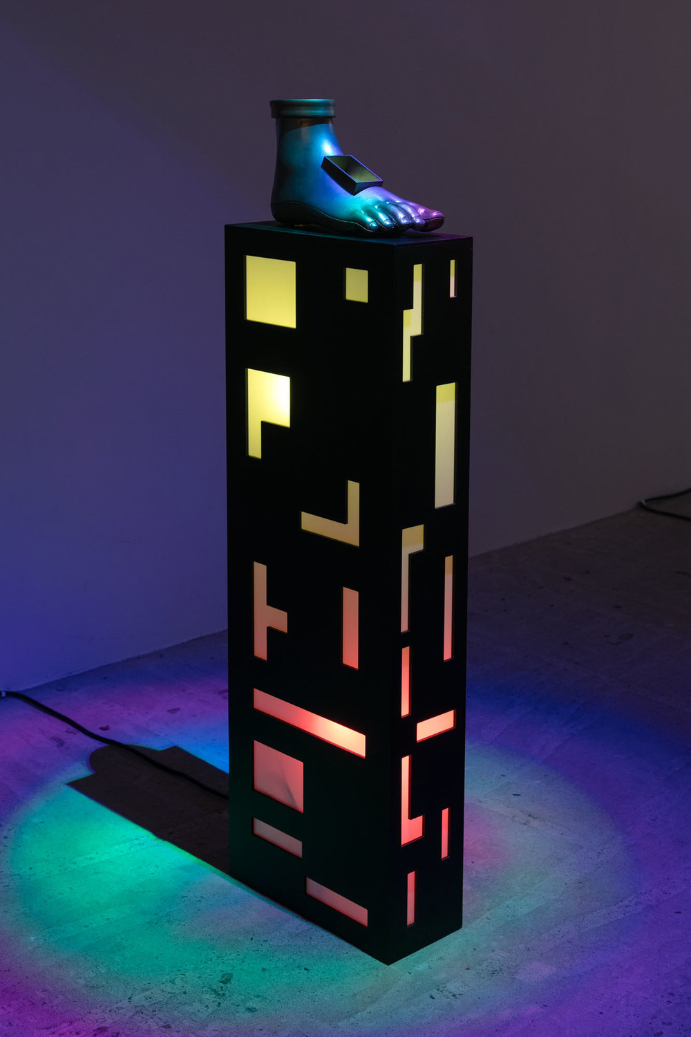 Phillip Birch   The Foot of Keran's , 2017  Plexiglass, LED lights, 3D printed plastic, painted enamel  47 x 14 x 6 inches  Unique