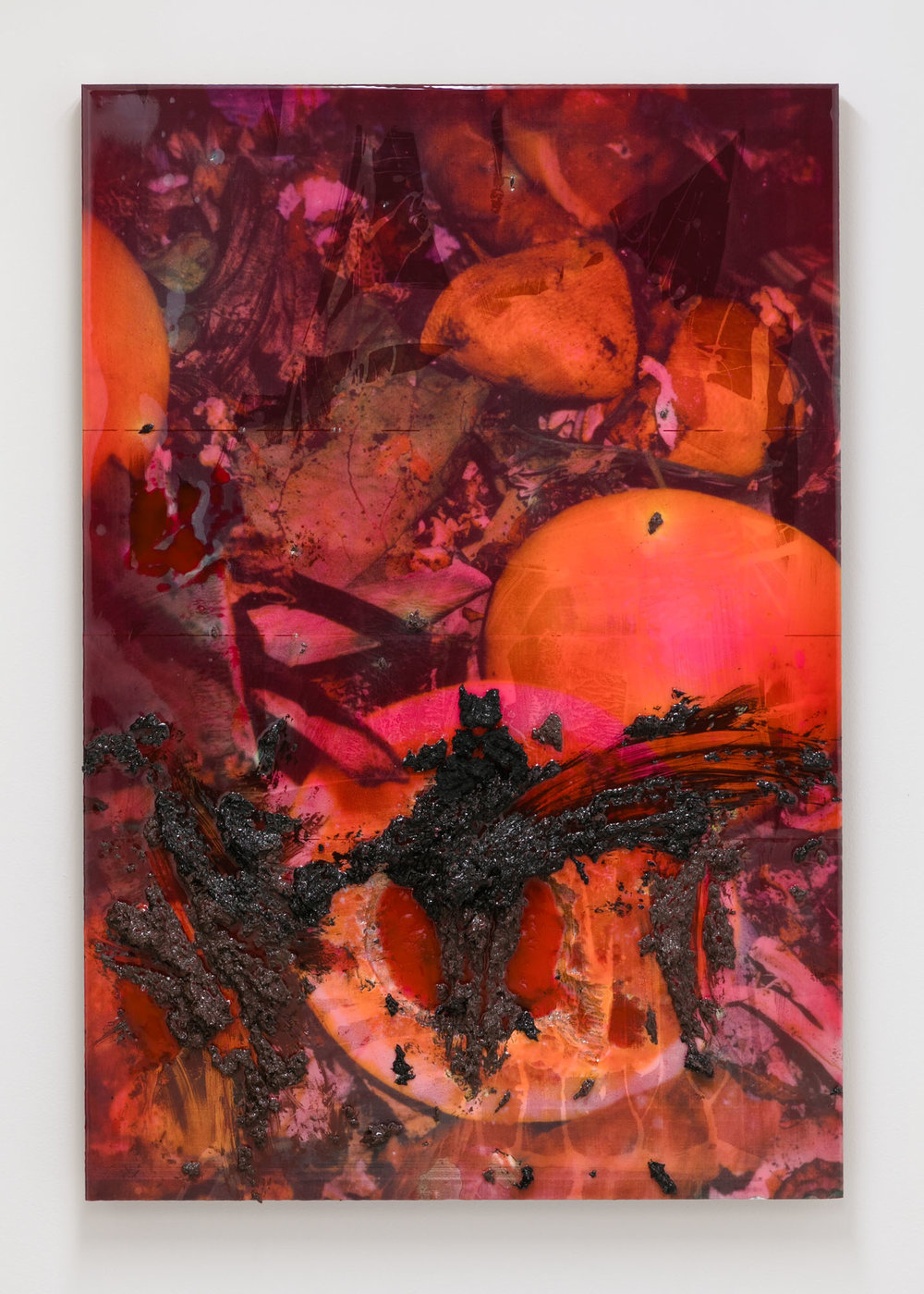 Borden Capalino   Like the cross between men and birds , 2017  UV print, silicone, rice, soil, acrylic polymer, and pigmented resin on polystyrene  44 x 30 x 2 inches