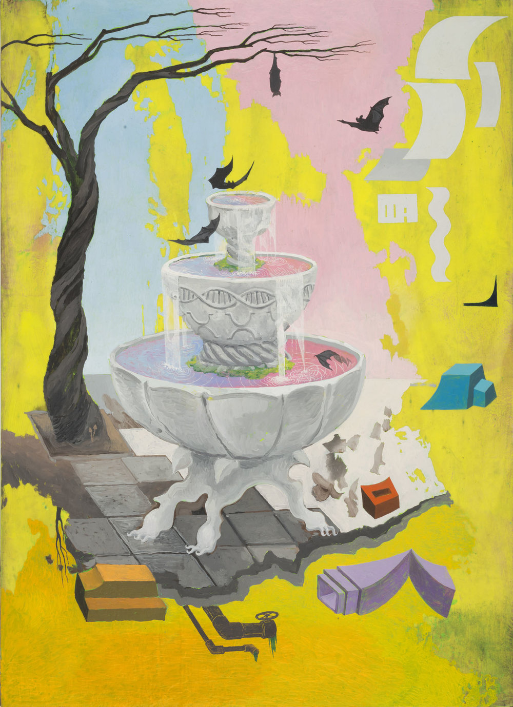 Mi Kafchin   The Fountain with Bats , 2017  Oil on wood  108 x 78 cm  42.5 x 31 inches
