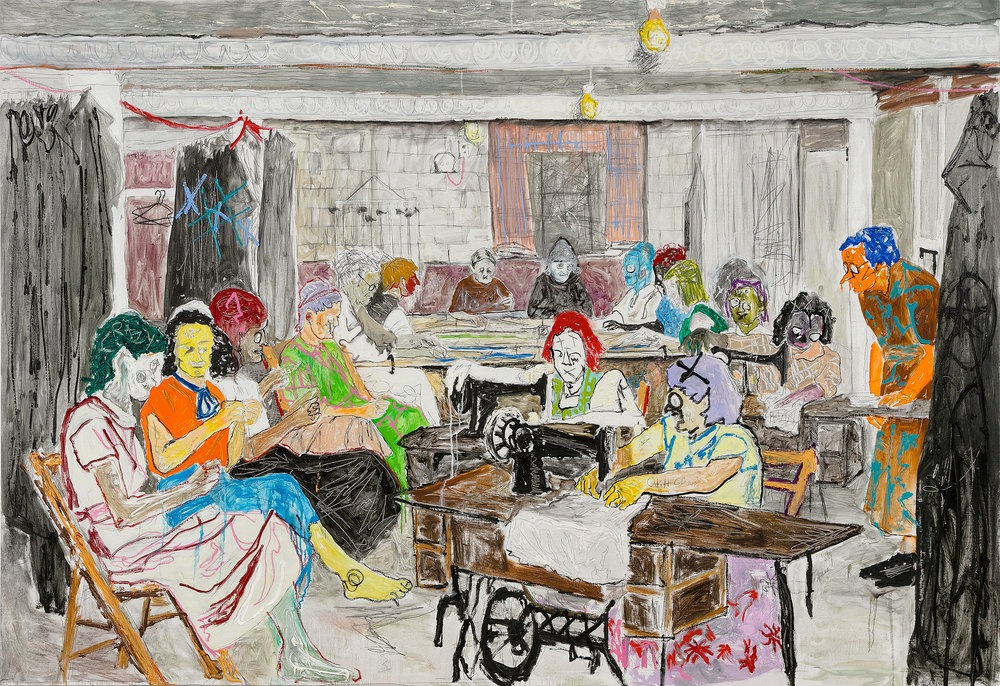 Farley Aguilar   Women Sewing , 2016-2017  Oil on linen  75 x 109 inches