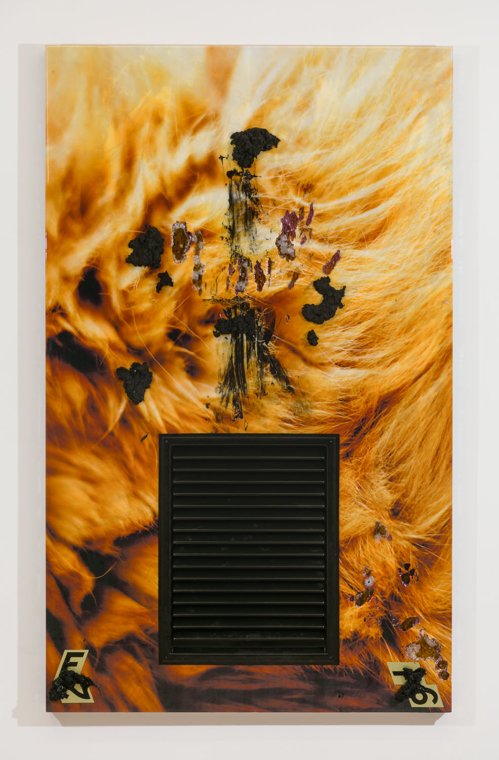 Borden Capalino   Opera Nite , 2018  UV print, air vent, numbered door markers, soil, acrylic, polymer, enamel, silicone, and resin on polystyrene, wood, and Sintra  77 x 47 x 4.5 inches