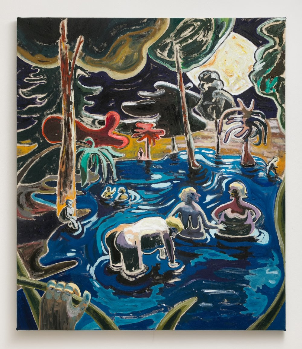 Pierre Knop   Night Bath , 2018  Oil on canvas  43.25 x 38.25 inches