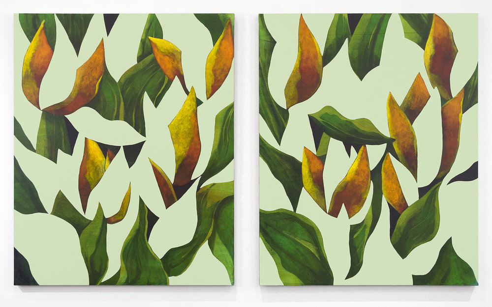 Ryan Mrozowski   Untitled (Pair) , 2018  Acrylic on linen  Two parts: 50 x 40 inches each