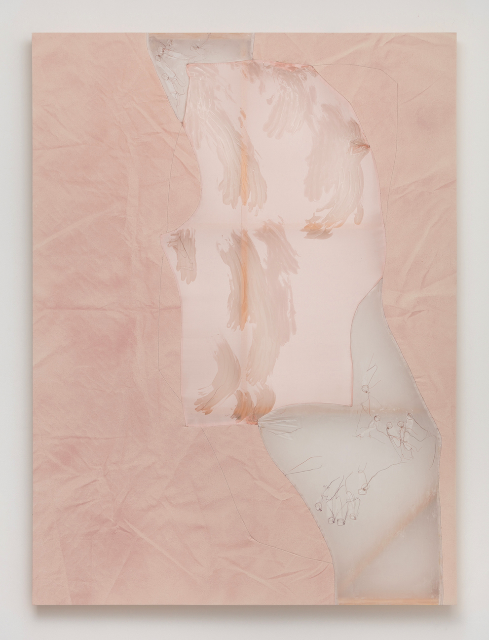 Erica Mahinay   Self-Contained , 2018  Acrylic on canvas and fabric  70 x 52 inches