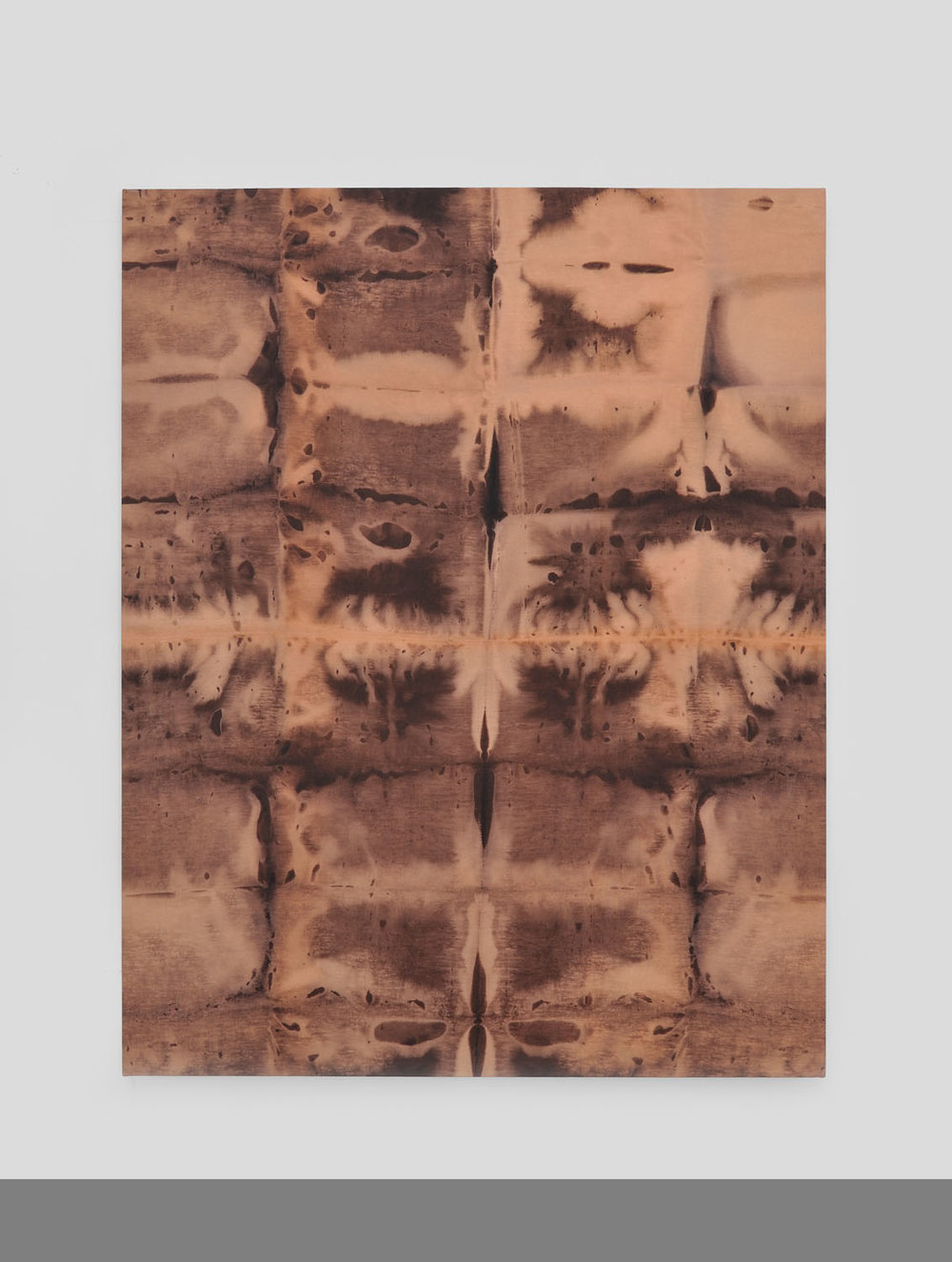 Thomas Fougeirol   Untitled , 2015  Bleach on linen  77 x 59 inches