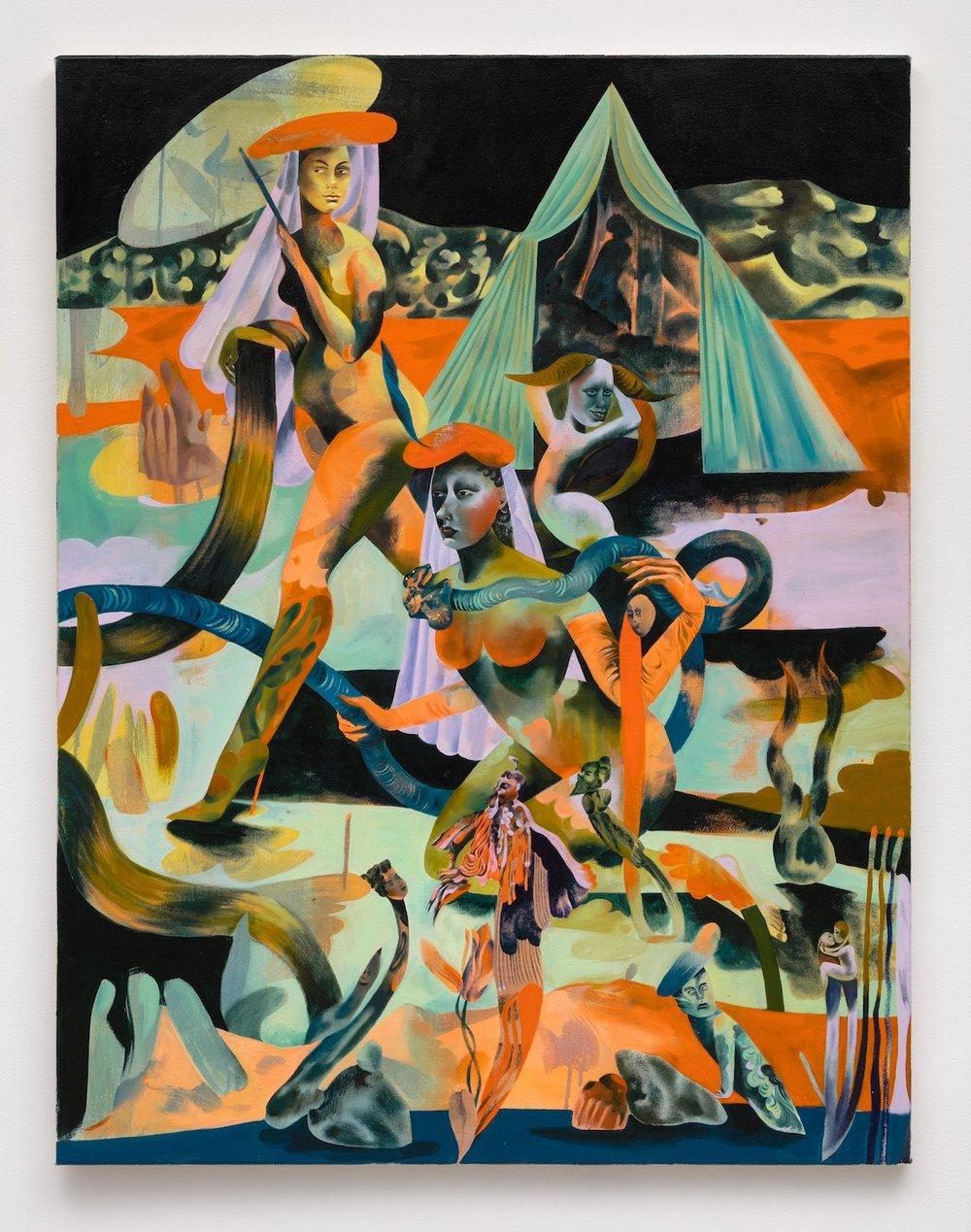 Jessie Makinson   Wild Cherry Sphinx , 2018  Oil on canvas  51.25 x 35.5 inches