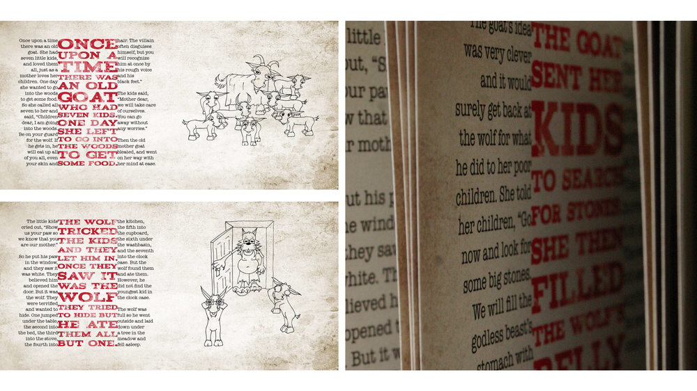 spreads and detail from  The Three Billygoats Gruff,  designed by Jeff Raulie