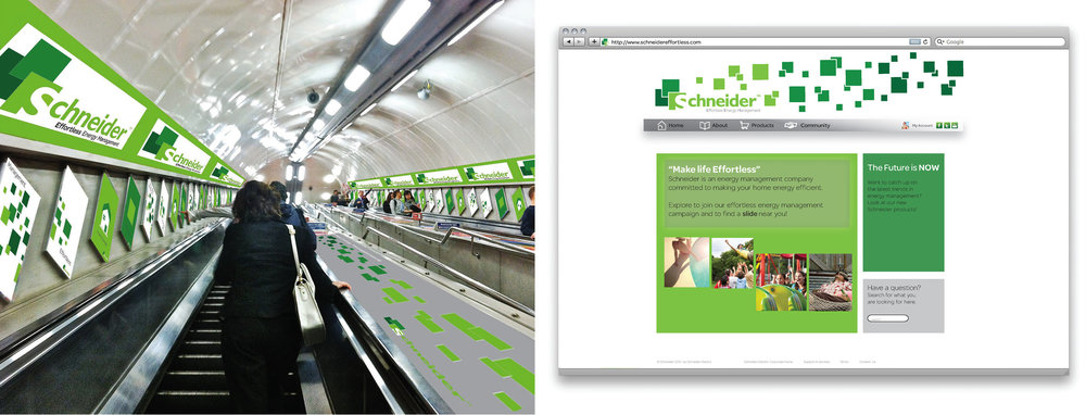 """Make Life Effortless"" took a tongue-in-cheek attitude with guerilla marketing strategies, including turning London Tube escalators into large slides."