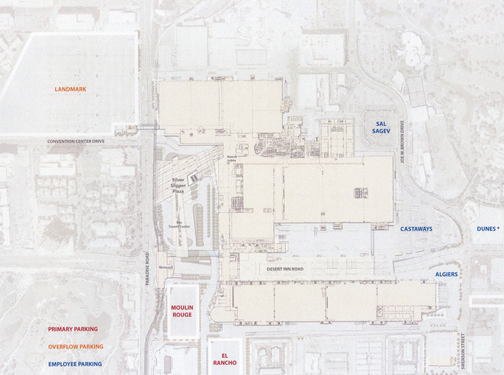 surrounding parking lots would use the same color coding, and would be named after decommissioned hotels, thus increasing the visitor's potential to remember which lot they parked in
