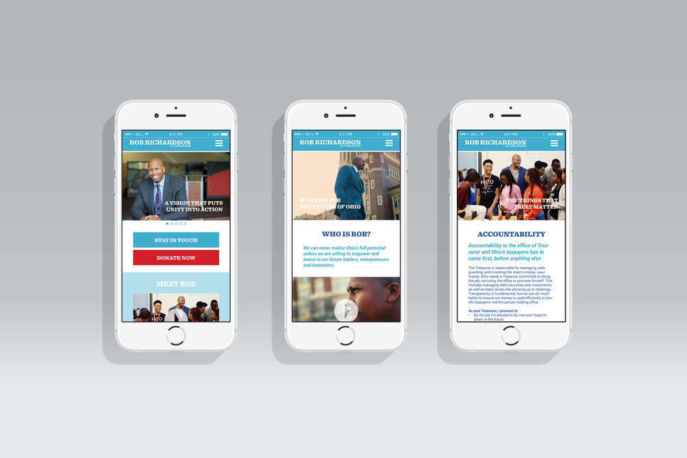 mobile layouts for the Homepage, About page, and Issues page
