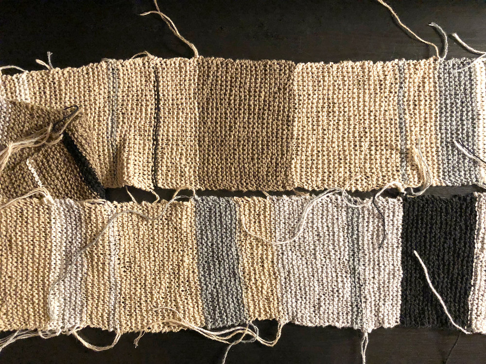The overall finished scarf measured twelve-feet in length, with each stitch representing two seconds, each row mapping a full minute.