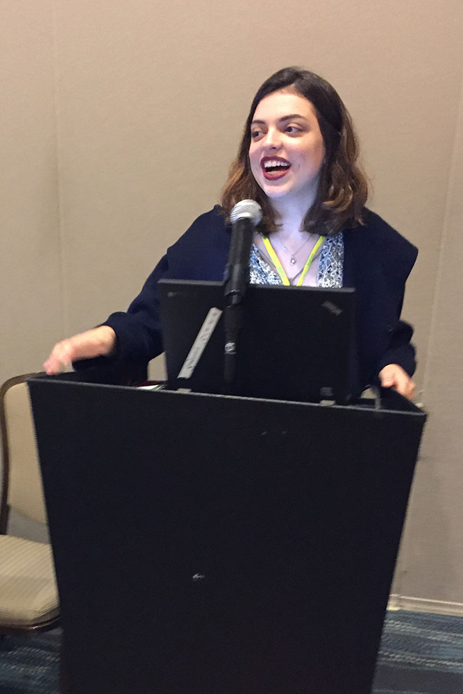 Zelia Gonzales speaking at the national America Walks Conference in Washington D.C. Last year she presented on youth engagement in city planning and creating policy.