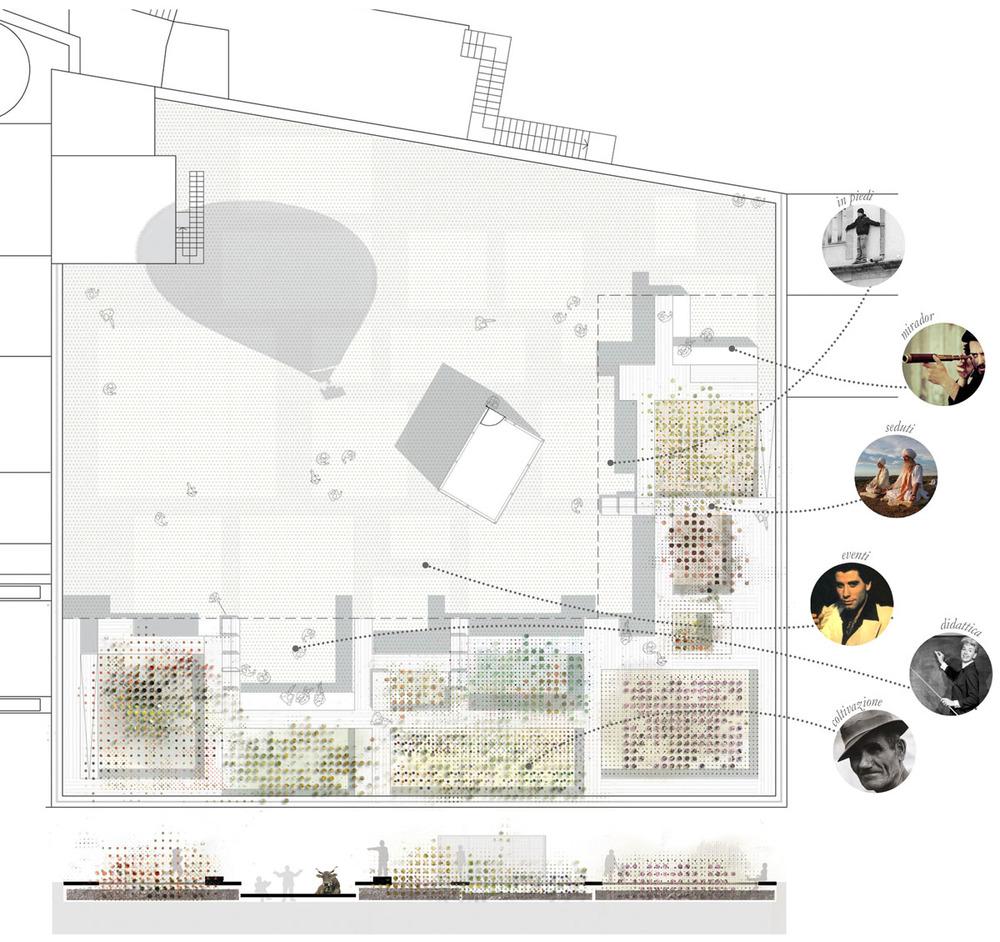 Tavola di progetto con la rappresentazione delle aree coltivate, dei percorsi e delle aree funzionali.