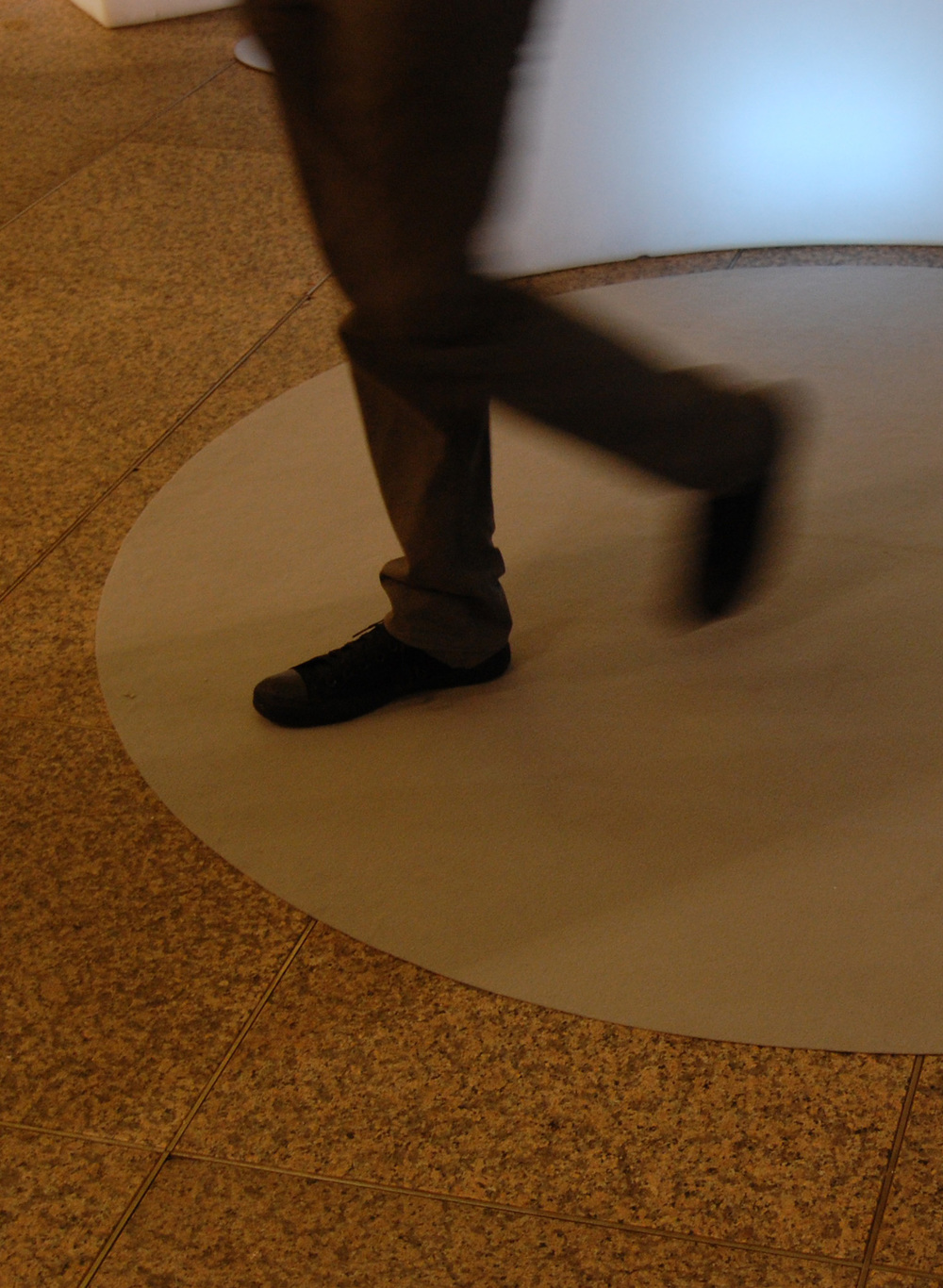 I tappeti circolari disposti tra i desk segnano lo spazio dedicato al confronto con i visitatori