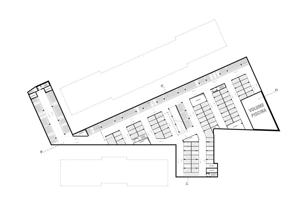 Planimetria dell'intervento al primo livello di parcheggio interrato
