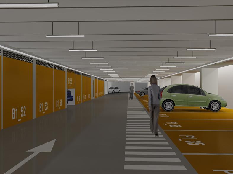 Gli interni del parcheggio in un'immagine di progetto