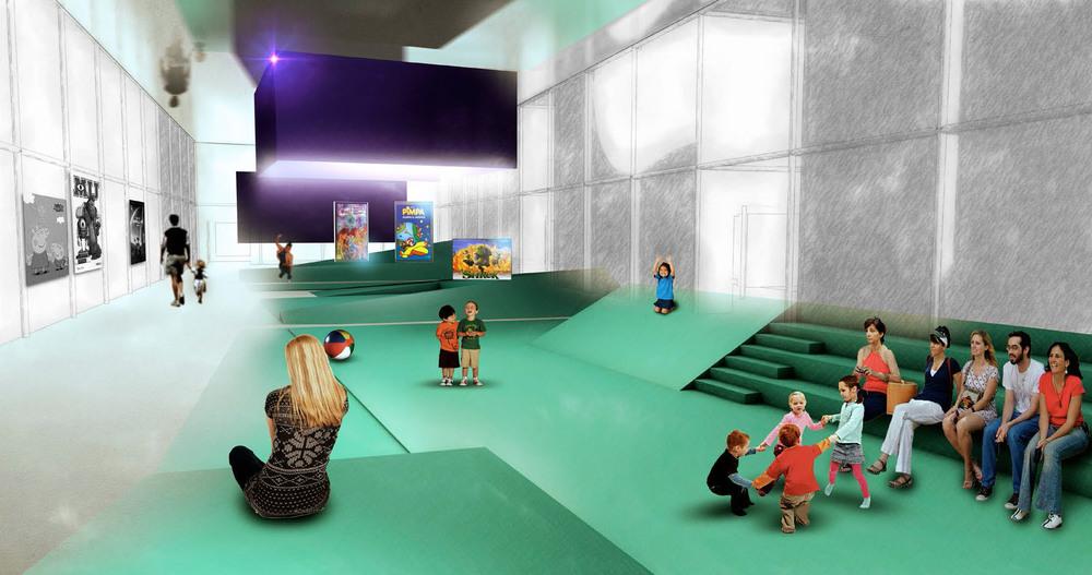 Una immagine virtuale di studio dell'interno: il percorso didattico disposto lungo il perimetro e lo spazio centrale destinato ad una fruizione più ludica.