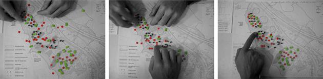 La distribuzione planimetrica delle unità residenziali in fase di studio.