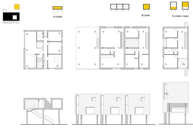 Le abitazioni: pianta delle diverse tipoligie.