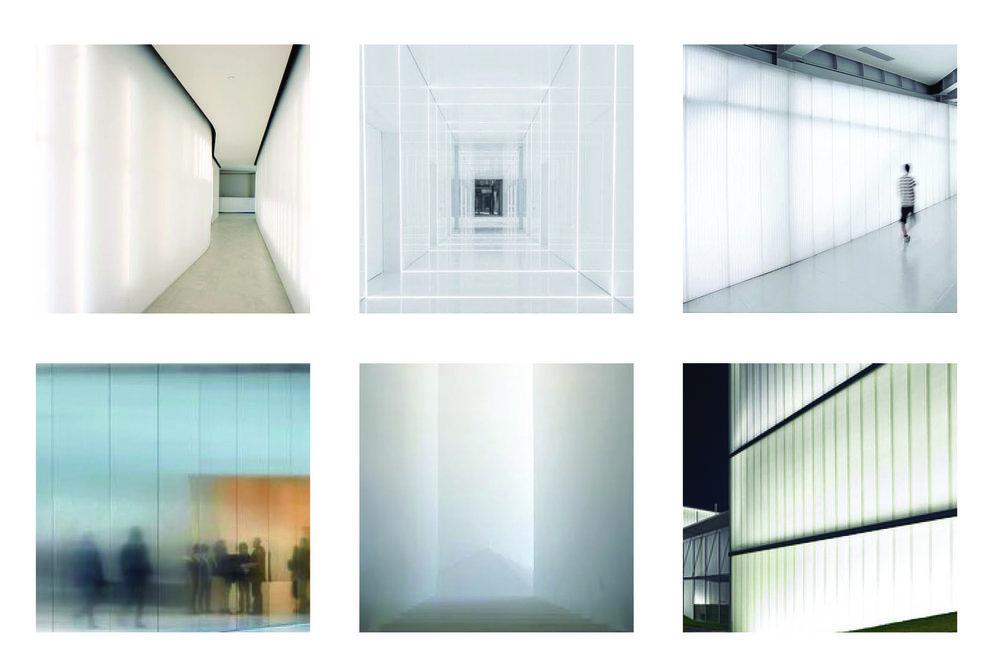 Moodboard: immagini di riferimento per le scelte cromatiche e di materiali.