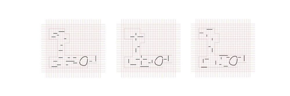 Lo schema che sottolinea la flessibilità dell'allestimento, sempre adattabile alle necessità grazie ad una maglia di binari a soffitto che consentono l'appendimento dei pannelli.