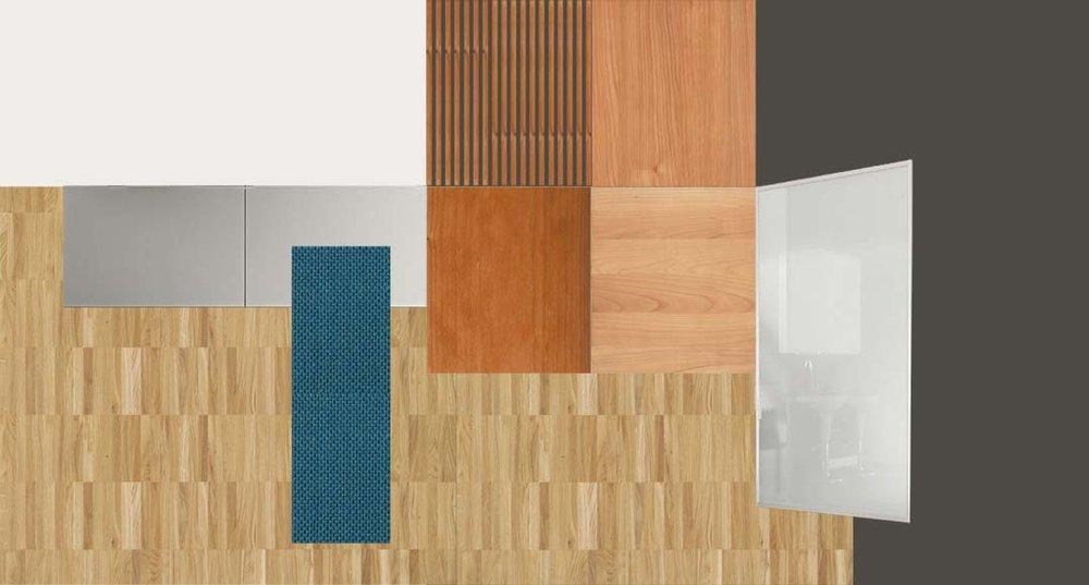 Look & Feel: la palette dei materiali e dei colori scelta per il restying, con gli abbinamenti tra esistente e nuovo.