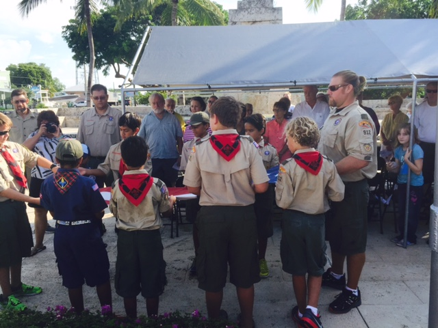 Boyscout Troop 912 with Flag
