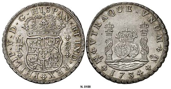 Mexico Mint Pillars 8 Reales, dated 1734.