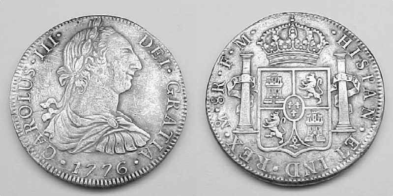 The Fifth and final Type of Spanish Real, The Milled Bust coin.