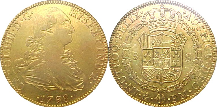 A Later Gold Doubloon with bust on the front.