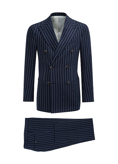 Double Breasted Men's Pinstripe Suit