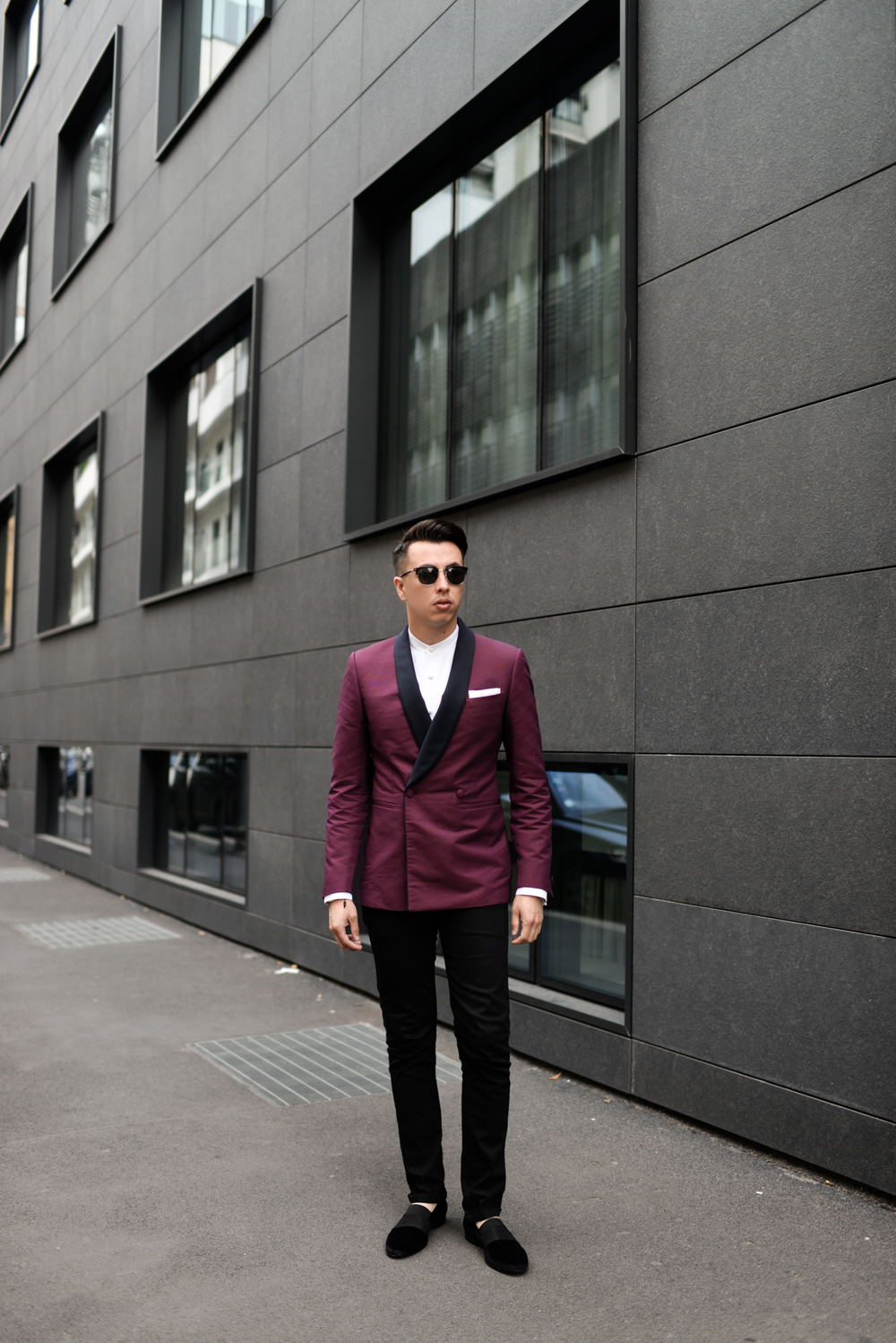Blake Scott wearing a double breasted tuxedo jacket, with a pair of loafers you'll probably only see in your dreams.