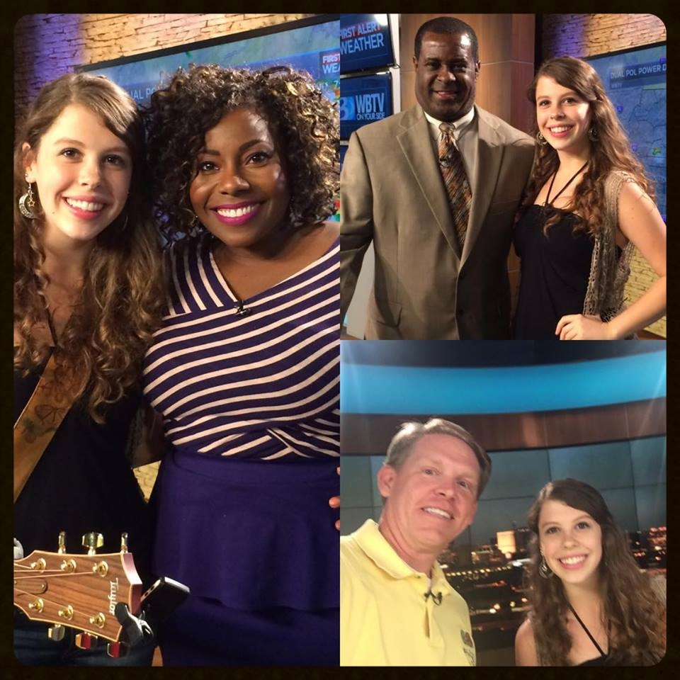 With Brigida Mack, Delano Little, and Mark Boone at WBTV.