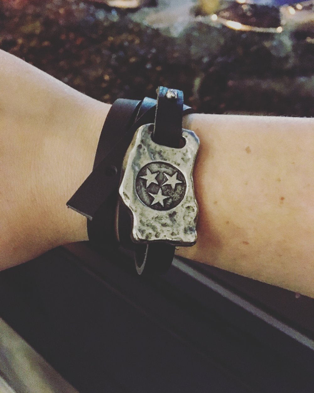 Tri-star Wrap Around Leather Bracelet:Loll- Le Gaggin Handcrafted Jewelry