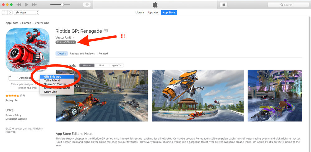 "Using the App Store, click on the down arrow where the price is listed. Select ""Gift This App"" and take it from there! On a mobile device, click on the square with an arrow in it (top right hand corner), then select ""Gift""."
