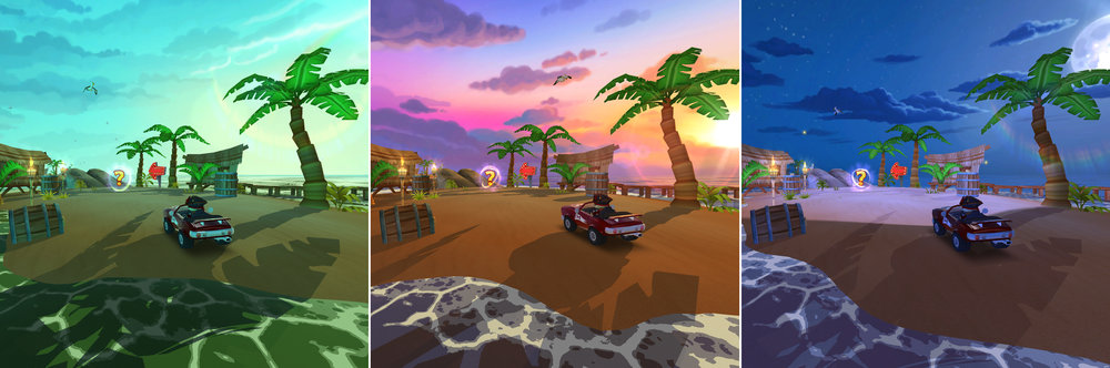 """Paradise Beach seen at morning, sunset, and night. Can you say """"Headlights!""""?"""