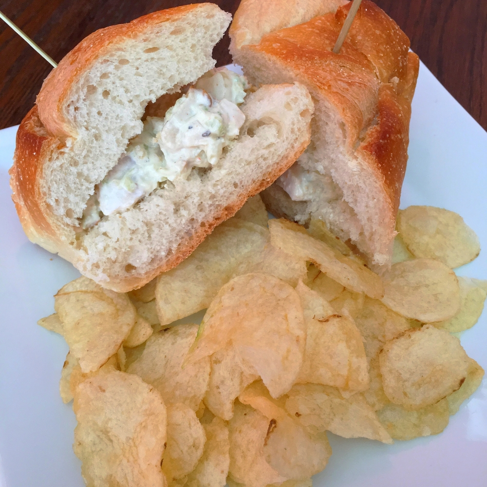 Chicken salad sandwich - celery, onions, preserved lemon