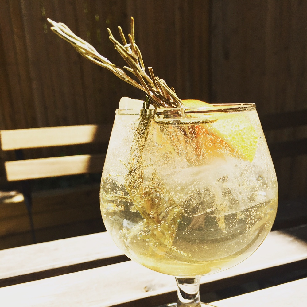 The Sheltering Sky, our take on a Gin and Tonic with Gin Mare, Rosemary Shrub, Grapefruit, and Fever Tree Tonic Water