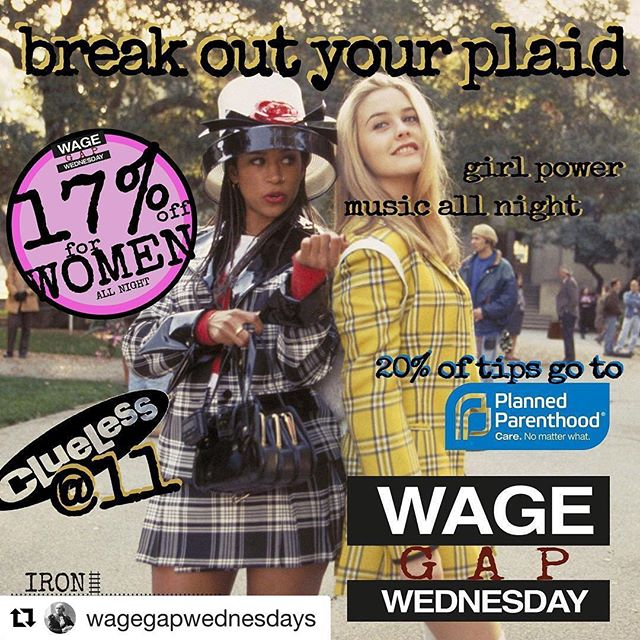 #Repost @wagegapwednesdays (@get_repost) ・・・ It's almost time to enjoy your 17% off all night @ironstationbk ! #girlpower #wagegapwednesdays #istandwithpp #feminist #feminism #clueless #girls #aliciasilverstone #brooklyn #southslope #parkslope #greenwood #barpromotions#bar #brooklynbar #nycbar #barlife #sassafras #plaid #matchingoutfits #bighats #chickflick #bff#miniskirts #miniskirt #bffgoals #bffs #bff💖