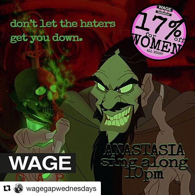 #Repost @wagegapwednesdays (@get_repost) ・・・ Hey ladies! Join us tomorrow night @ironstationbk with a pre holiday singalong to bolster your spirits! Anastasia at 10, with singing and possibly again at midnight if we're feeling it. Don't miss #megryan in absolutely her best role of all time! And as always, 17% off for women, girl power music, and love to planned parenthood. See you soon sisters! #wagegapwednesdays #wagegapwednesday #girlpower #istandwithpp #anastasia #rasputin #bar #brooklyn #southslope #parkslope #holidayfun #pregame #barlife #johncusack #singalong #animatedclassic #girls #wagegap
