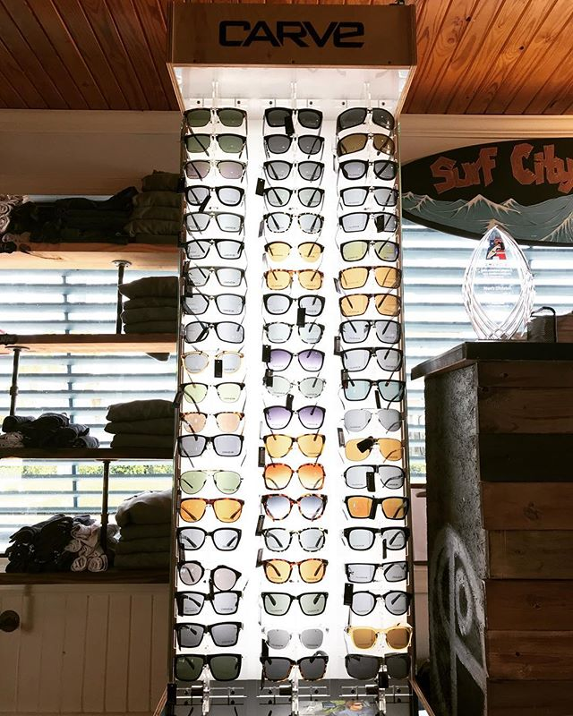 We just got a fresh shipment of @carve_visionaries 🕶s in today! Tons of different colors and styles for everyone. This is by far the best selection of Carve sunglasses we've had! So come pick up a pair or 2 today before they're gone. 🎟🤙🏽#surfcitysurfschool #sunglasses #carvesunglasses #surfcitync #shakataco