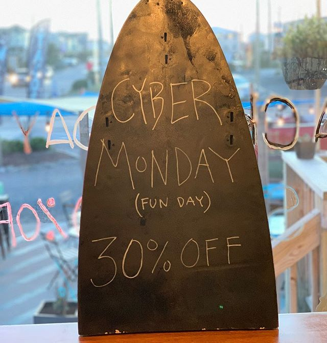 This partial surfboard represents partial payment. Annual Cyber Monday is on! Just use SURFINGTACO and you're in! www.surfcitysurfschool.com 30% gift cards, lessons, tacos, gear and everything else. Yew! #sale #cybermonday #shakataco #surfcitysurfschool #surf #deals #nc