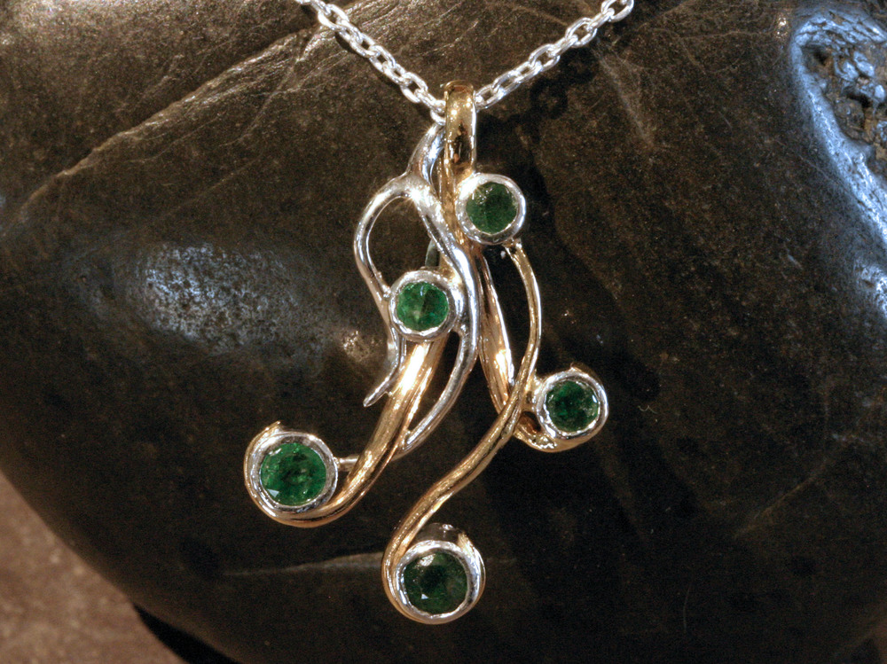 Sterling silver & 14K gold vine pendant with emeralds