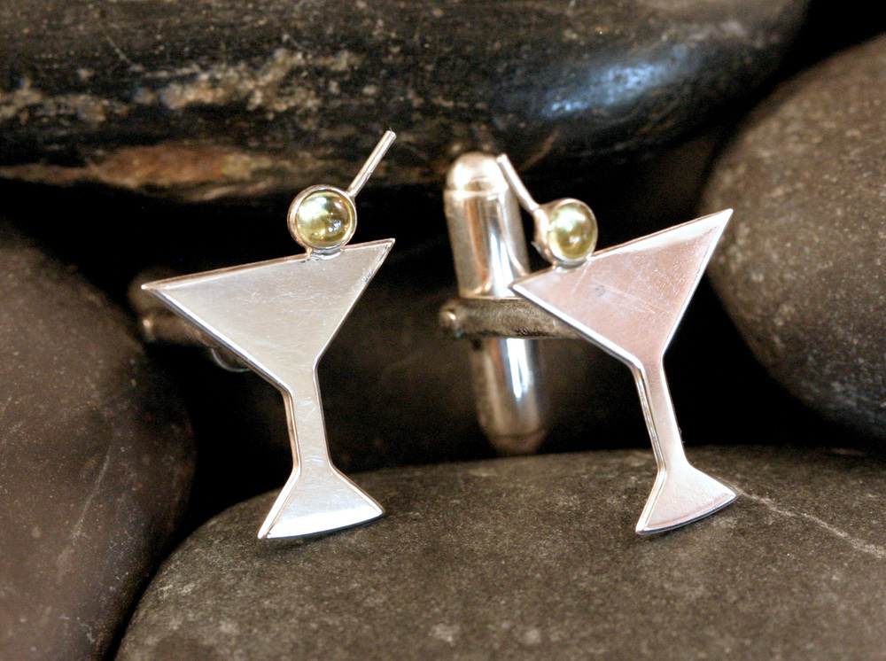 Sterling silver martini glass cuff links with peridot cabochons for the olives