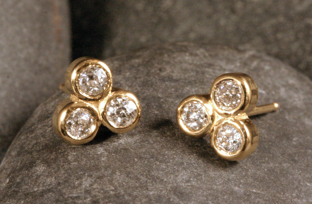 14K gold & diamond studs.
