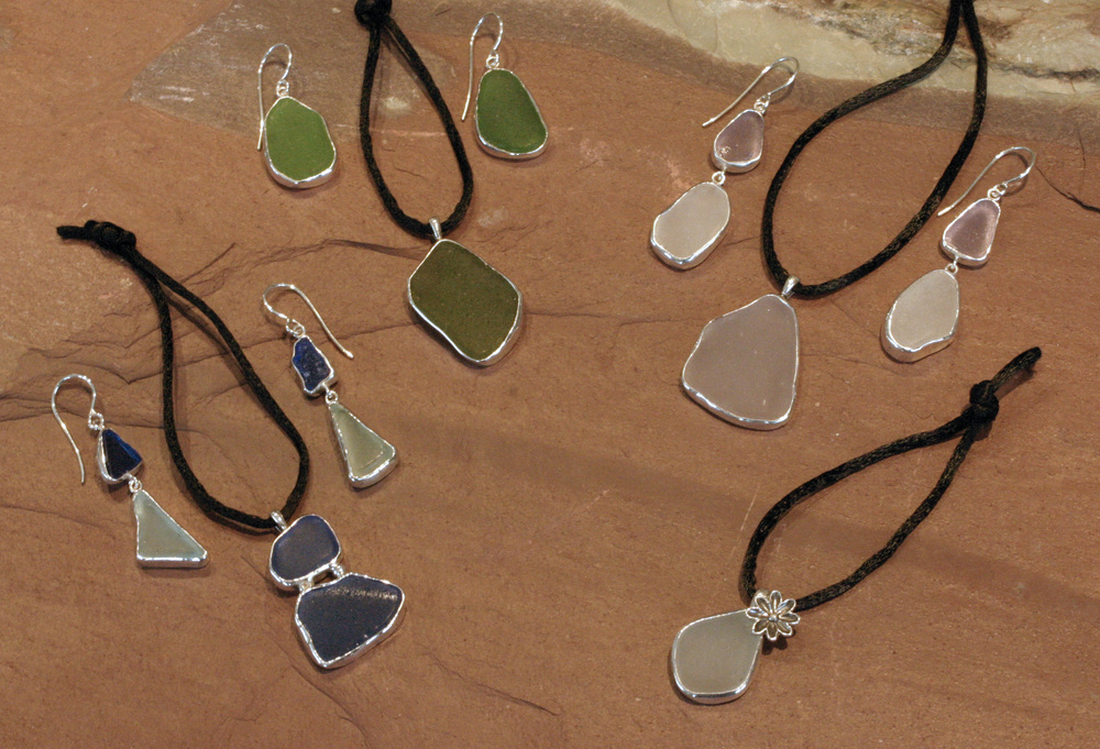 Sterling silver & seaglass bridal party set.
